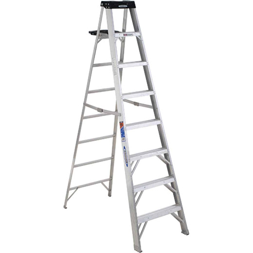 Werner 8 Ft. Aluminum Step Ladder with 300 Lb. Load Capacity Type IA Ladder Rating