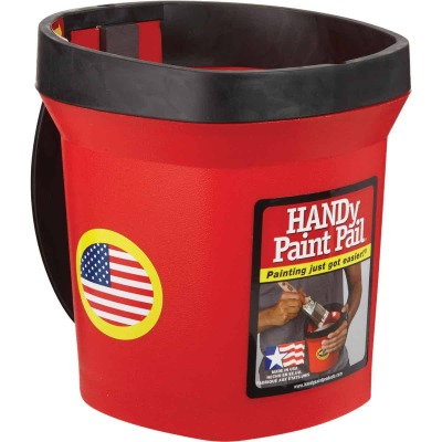 HANDy Paint Pail 1 Qt. Red Painter's Bucket w/Adjustable Strap And Magnetic Brush Holder